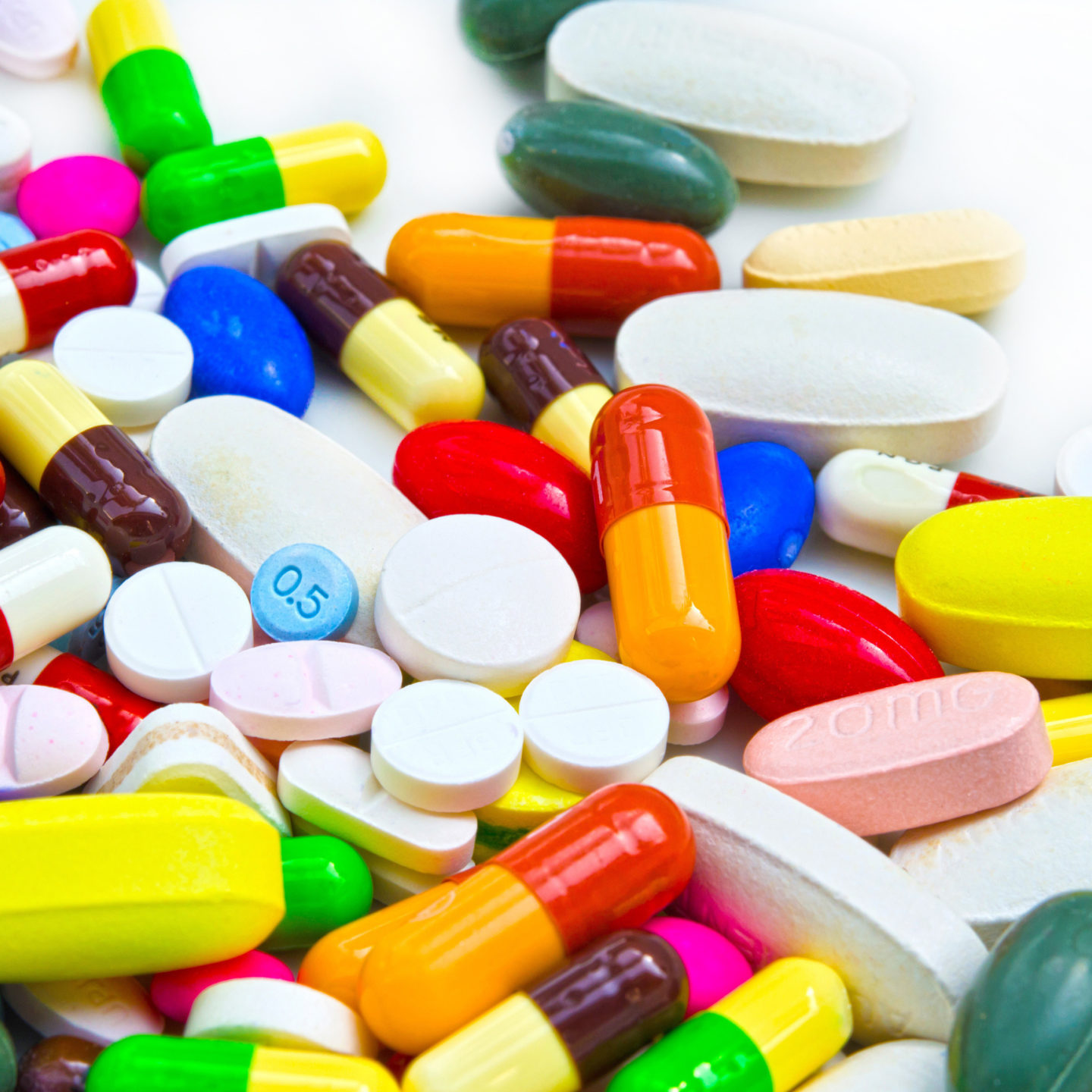 Colorful pile of pills