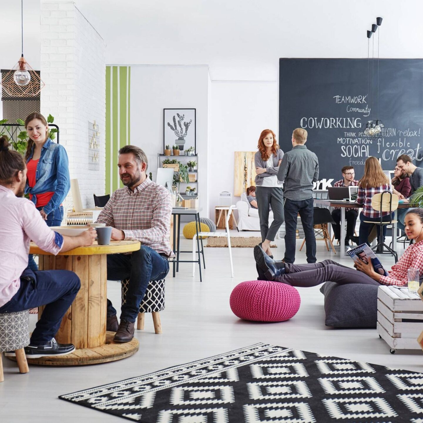 People relaxing during lunch break at office - Certifications for Sustainable Building Products | NSF International