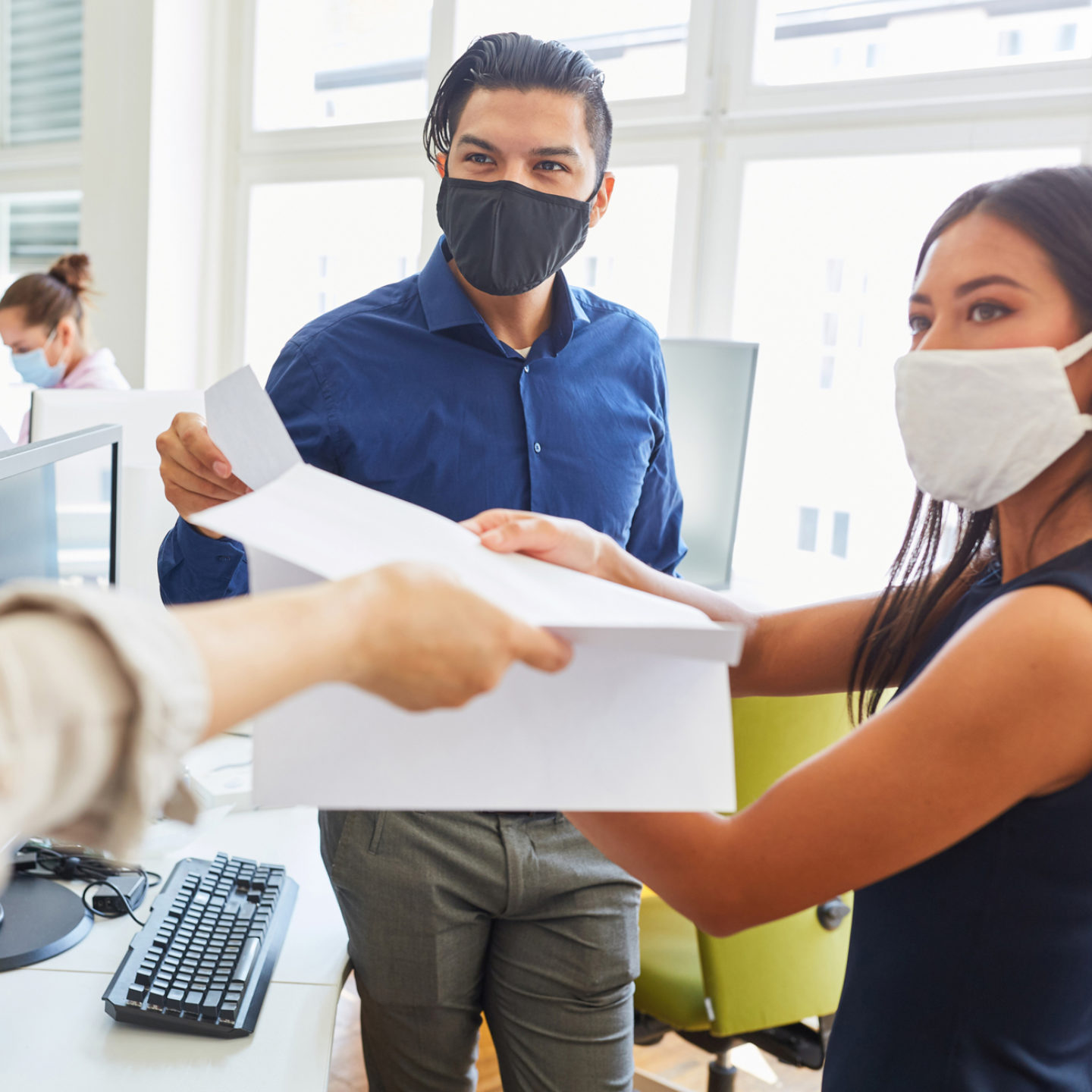 People training in office with masks