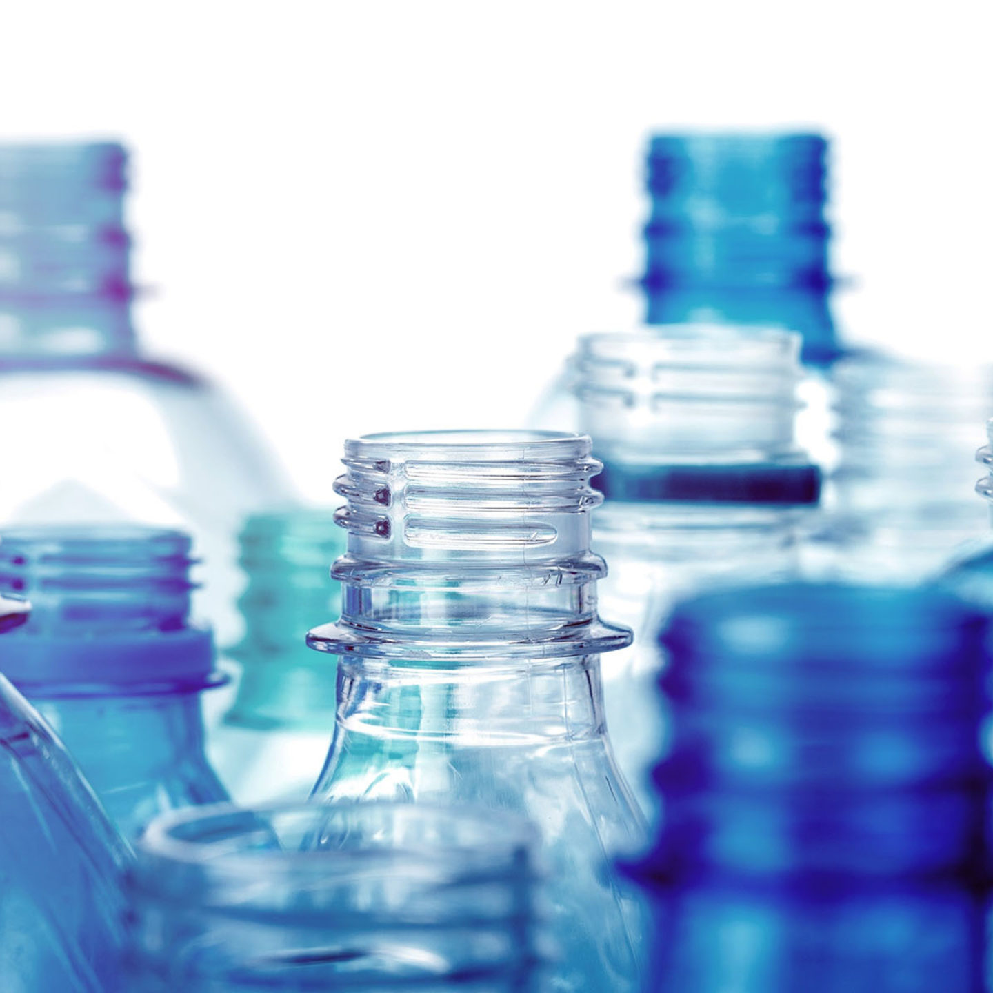 Closeup of plastic bottles