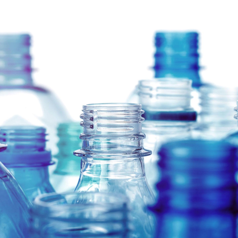 Closeup of plastic bottles