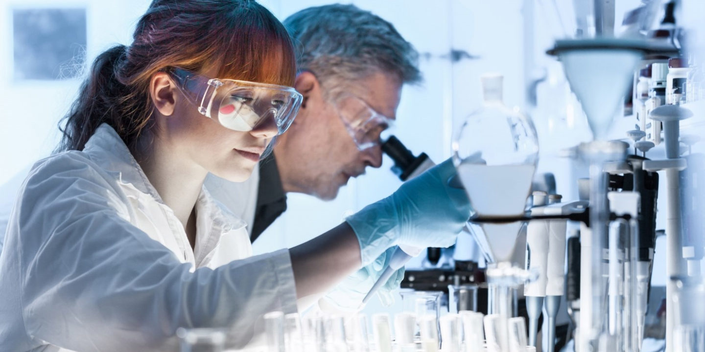 Chemists working in lab