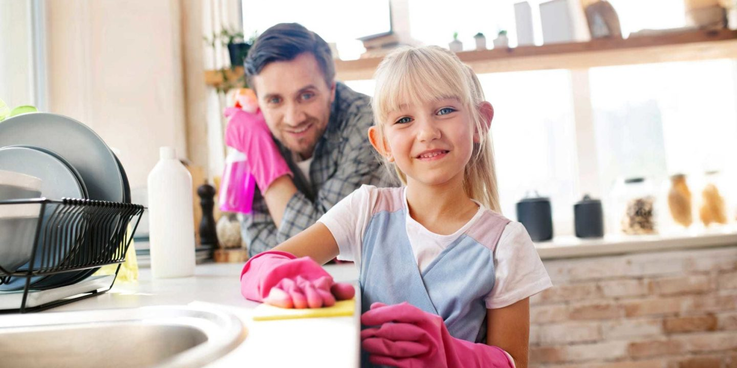 Dad daughter cleaning - Clean the Germiest Kitchen Items | NSF International