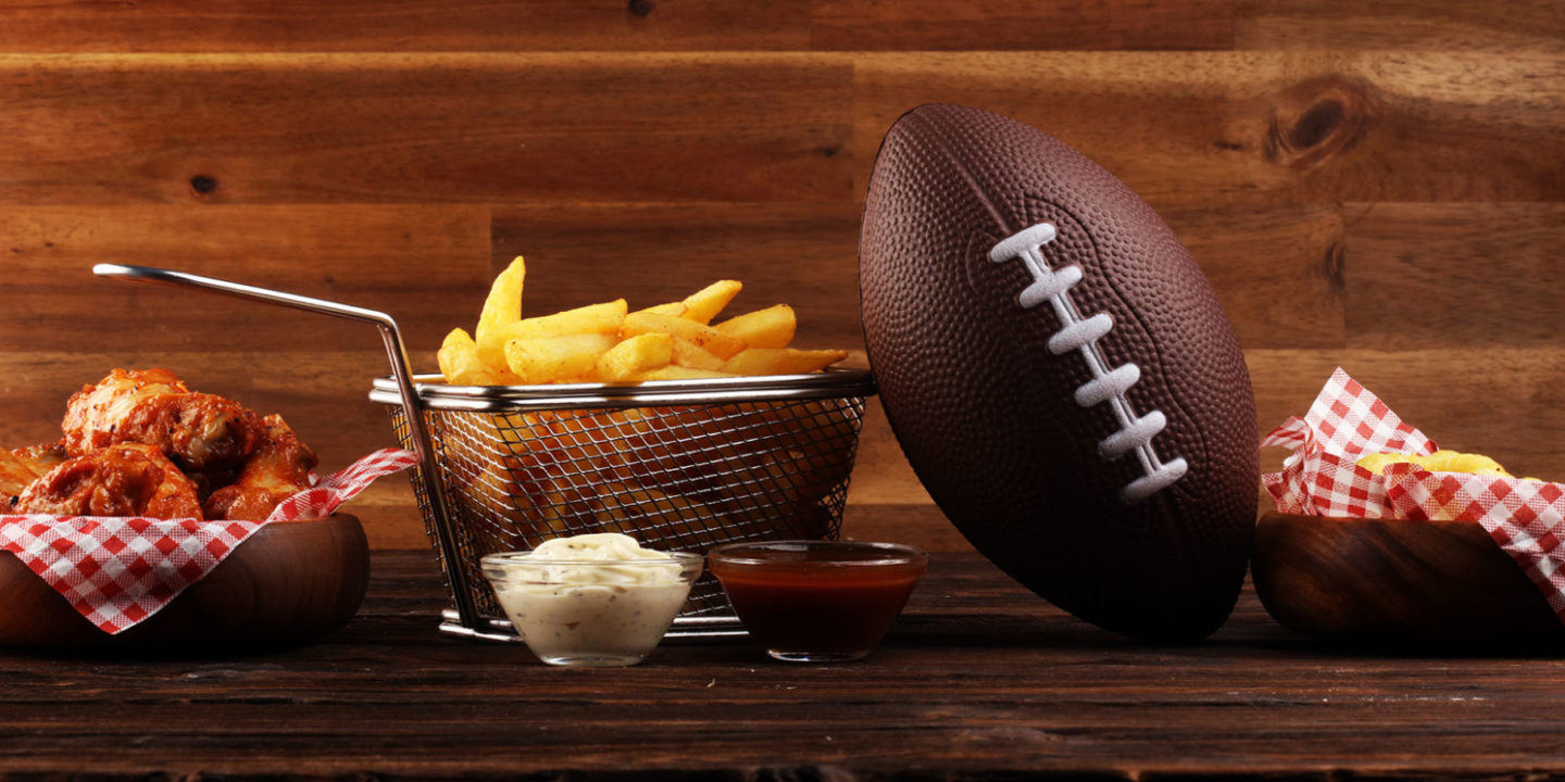 Football and baskets of food