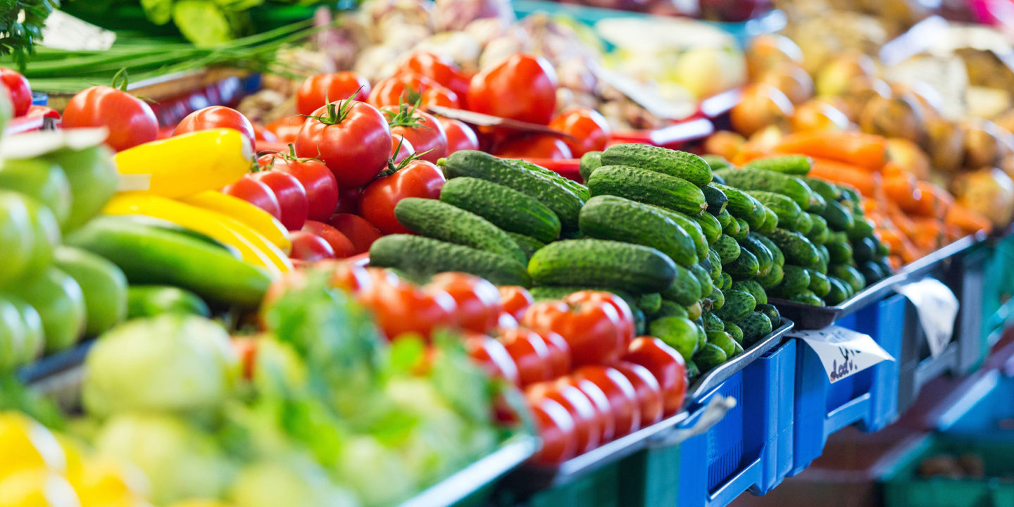 Fruits and vegetables at an  market
