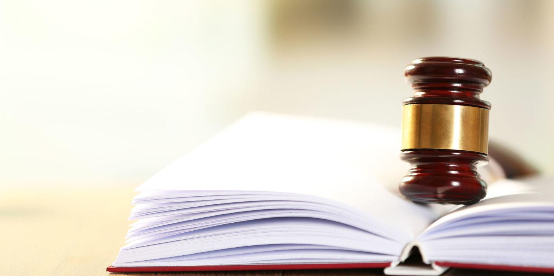 Judges gavel on book
