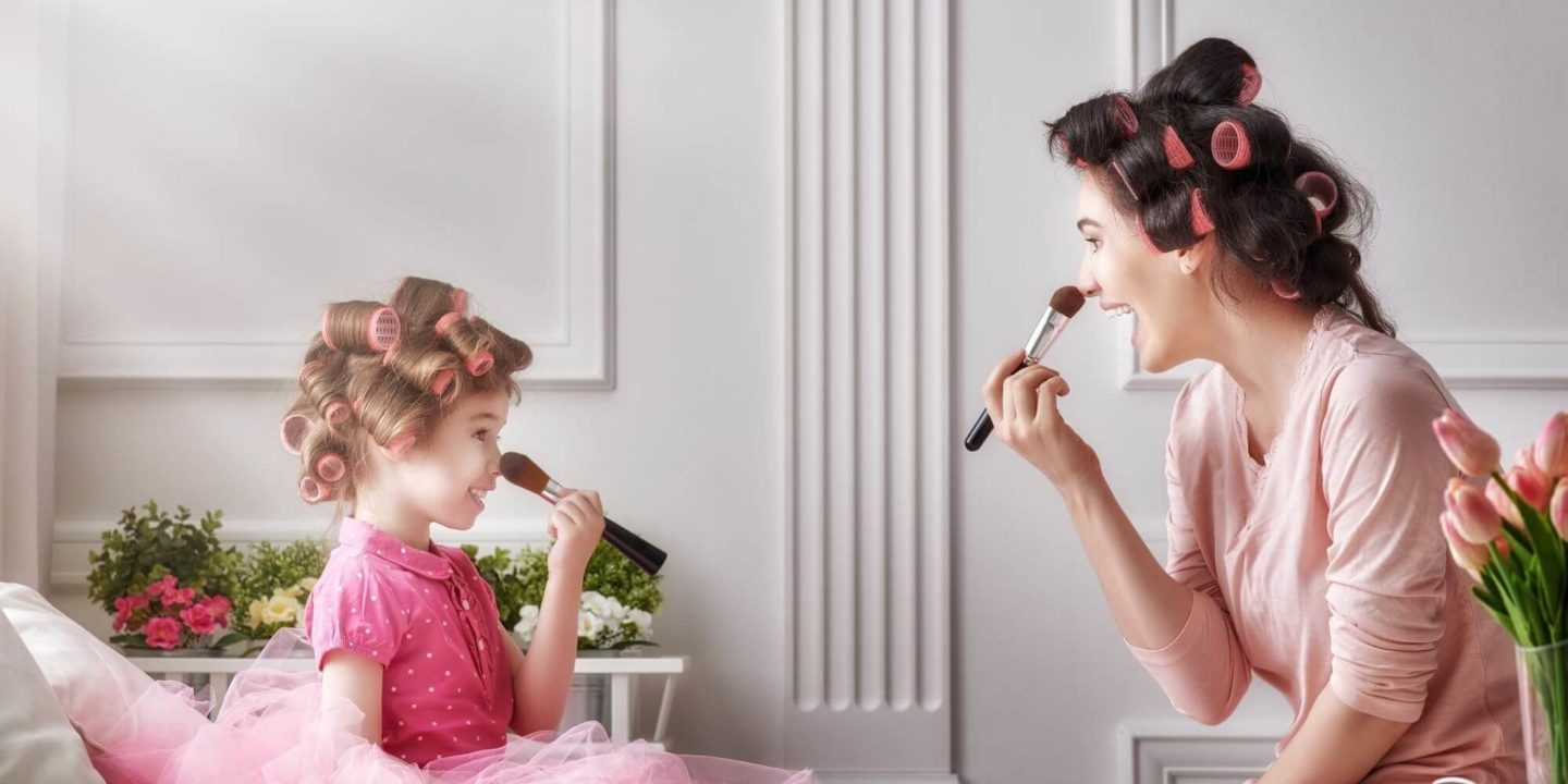 Mother and Daughter Doing Hair and Makeup - Organic Ingredients in Baby Care, Health and Beauty Products | NSF International