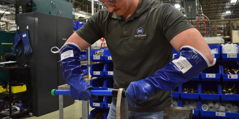 Plastic pipe testing in NSF's lab