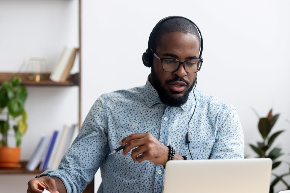 Man taking online training course