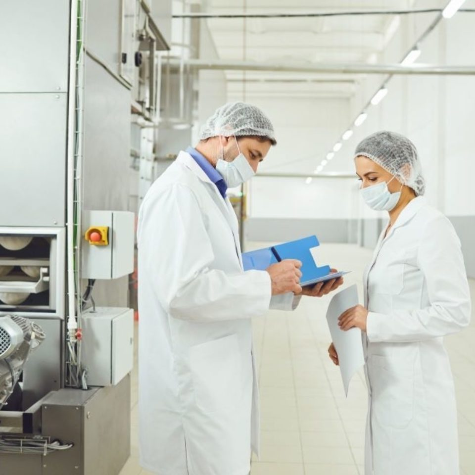 Man and woman auditing food processing plant