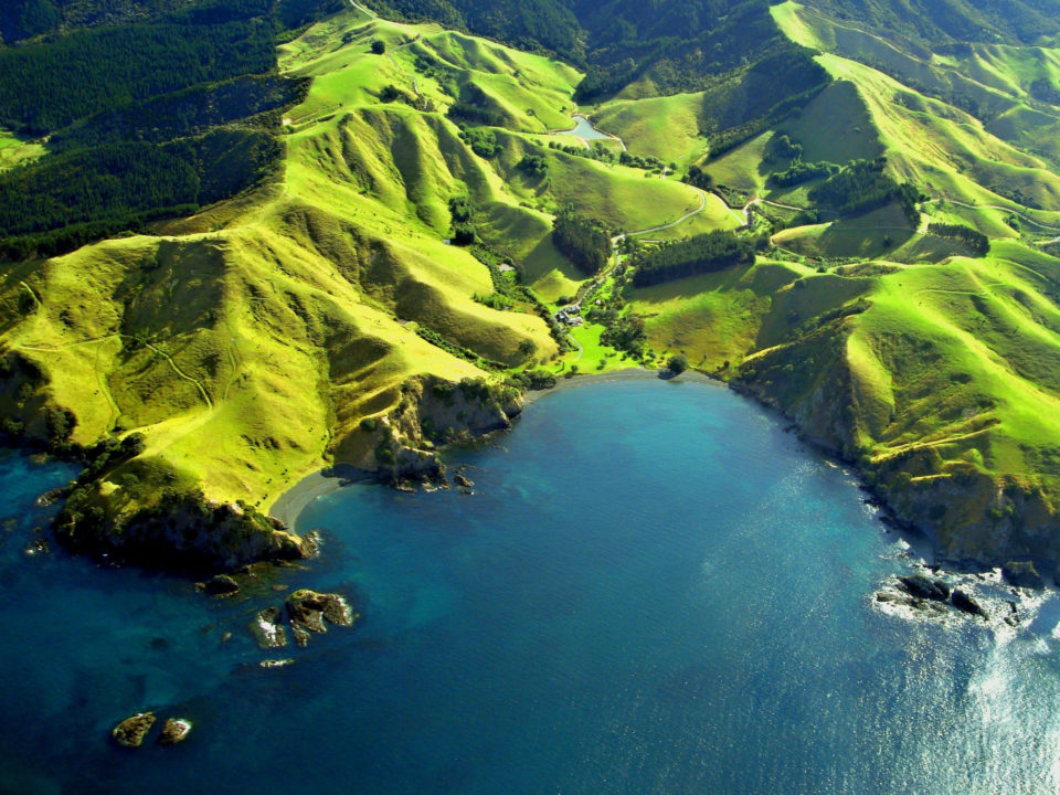 Aerial shot of green mountains