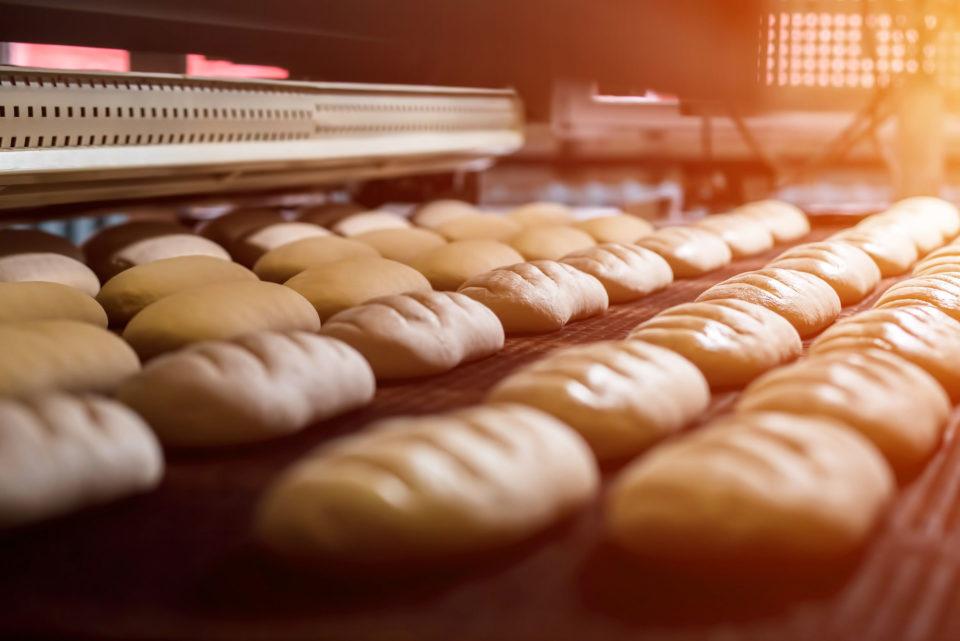 Bread on a conveyor belt in a factory