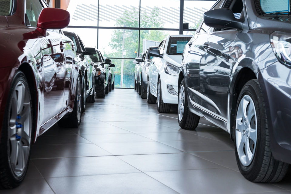 Cars in a showroom