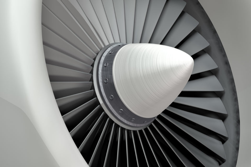 Closeup airplane of engine