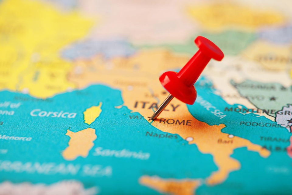 Map of Italy with a pushpin in Rome - Italian Certifications and Approvals