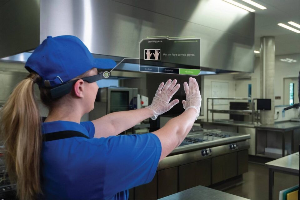 Restaurant worker using smartglass - Augmented Reality With Corrective Intelligence | NSF International