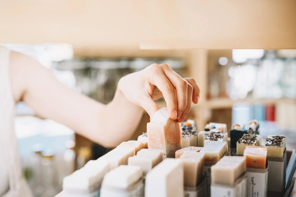 Woman shopping for homemade soap 133692511
